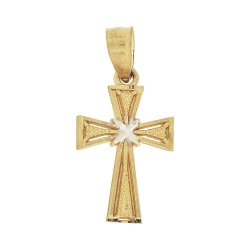 14k Yellow Gold, Mini Cross Pendant Charm 10mm Wide