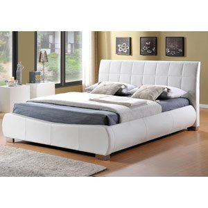 Limelight letti Dorado letto in pelle, colore: bianco, Pelle, White, Super Kingsize