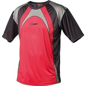TIBHAR TT-Shirt HIT, rot Gr. XL + Schlägerhülle für 1 Schläger rund, verschiedene Hersteller