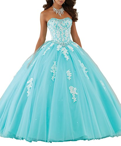 Elley Women's Lace Applique Sweet Sixteen Girl Birthday Party Backless Long Tulle Quinceanera Dress Aqua US2 (Blue Quinceanera Dresses compare prices)