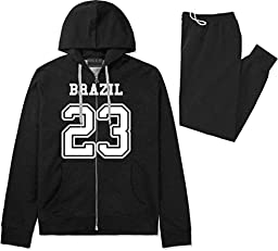 Country Of Brazil 23 Team Sport Jersey Sweat Suit Sweatpants Large Black