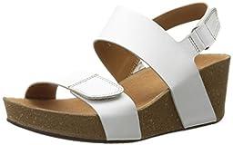 Clarks Women\'s Auriel Fin Wedge Sandal, White, 7.5 W US