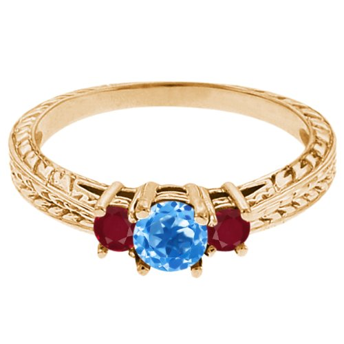 0.61 Ct Round Swiss Blue Topaz Red Ruby 14K Yellow Gold 3-Stone Ring