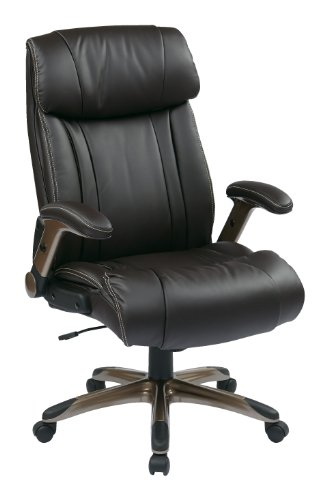 Office Star WorkSmart Executive Eco Leather Chair with Adjustable Padded Flip Arms and Coated Base, Espresso Leather Adjustable Arms