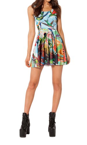 Women'S Pleated Knee-Length Birds In Paradise Pattern Reversible Skater Dress