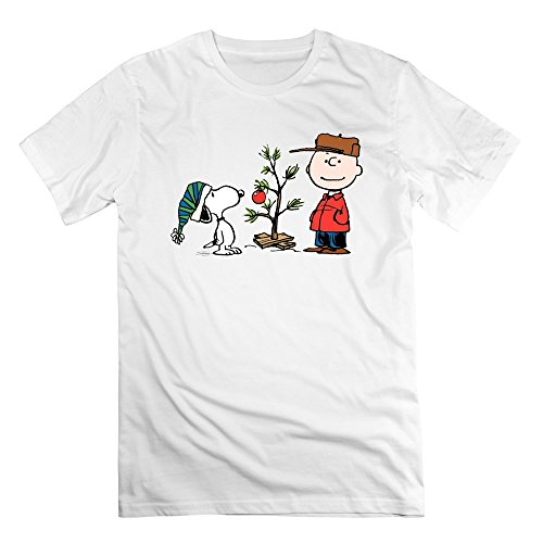 SaqT Man Snoopy And Charlie Brown Merry Christmas Tshirts White L