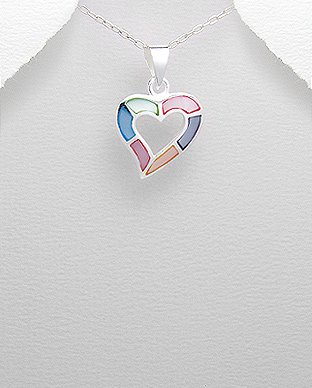 Elegant and Adorable Multi-Color Heart Pendant- Gems Couture