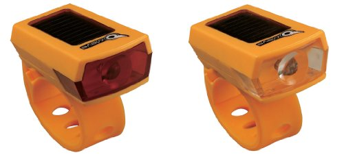 Owleye Twinpack Solar Powered LI-ion Rechargeable LED Headlight & Taillight Set Orange. BE SAFE - BE SEEN !!