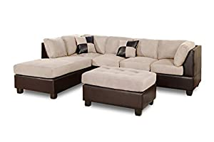 Amazoncom 3 piece modern reversible microfiber faux for Microfiber faux leather 3 piece sectional sofa set