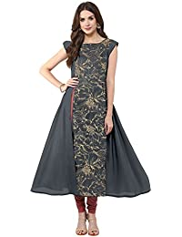 Janasya Women's Grey Embellished Front Slit Crepe Kurti