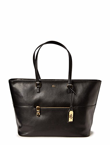 RALPH LAUREN BORSA SHOPPING POCKET TOTE IN PELLE NERA