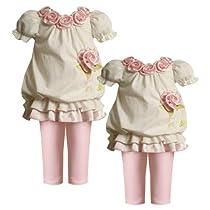 Size-12M BNJ-0413B 2-Piece IVORY PINK ROSETTE NECKLINE BUBBLE BORDER KNIT Dress and Legging/Pants Outfit Set,B10413 Bonnie Jean BABY/INFANT