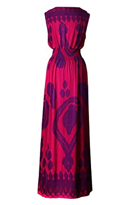 G2 Chic Women's Printed Basic Sleeveless Long Maxi Dress
