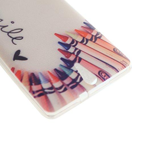 PowerQ M-M [ pour Sony Xperia C5 - crayon smile ]Couverture souple TPU Cas Case Cover avec Belle Motif Jolie Dessin Imprimer Impression