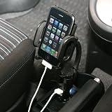 車載ホルダー iPhone iPod 携帯電話用 充電用USBポート付 200-CAR003