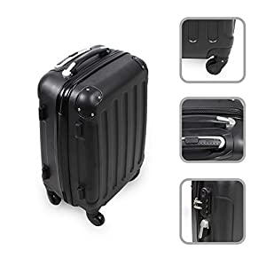 55 cm suitcase (Black) - 4-wheeled suitcase with telescopic handle