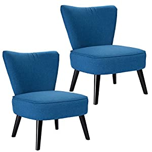 Giantex Set of 2 Armless Accent Dining Chair Modern Living Room Furniture Fabric Wood