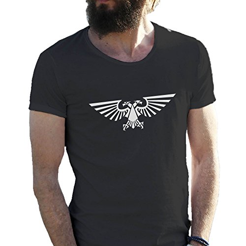 Warhammer Imperial Eagle Video Cool Game Logo Nero T-shirt maglietta per uomo Medium