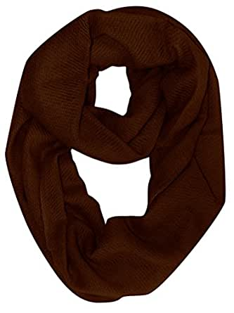 Peach Couture Warm Luxurious 100% Cashmere Infinity Loop Fall Winter Scarf (Chocolate Brown)