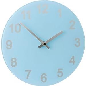 geniusly colourmatch jellybean blue round glass wall clock