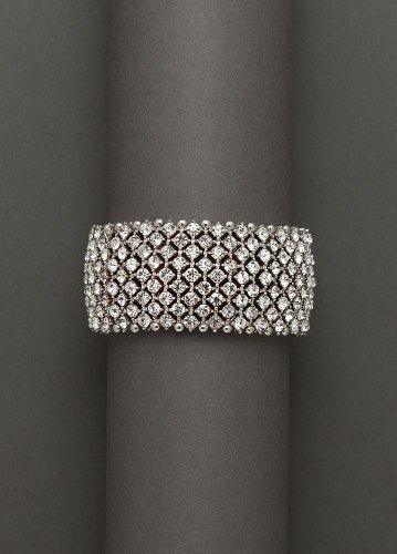 David's Bridal Bold Crystal Stretch Bracelet Style P10534B01, Silver