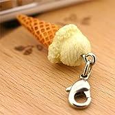 ソフト・アイス 食品サンプル ミニチュア マスコット アクセサリー (コーン/バニラ)