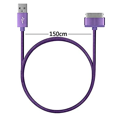 4.5ft Long iPhone 4 Cable,USB Sync and Charging Cable for iPhone 4/4S,iPhone 3G/3GS,iPad 1/2/3,iPod-3 Purple