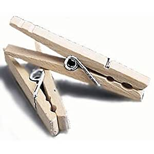 Clothes Pins Old-Fashioned Wood w/ Spring Action Pack of 50 Wooden Clothespins by Whitney Design