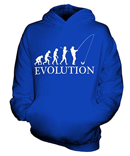 CandyMix Angeln Fischfang Evolution Des Menschen Unisex Kinder Jungen/Mädchen Kapuzenpullover, Größe 9-11 Jahre, Farbe Königsblau