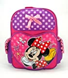 Birthday Christmas Gift - Disney Minnie Mouse Large Backpack and Mickey Mouse 200 Piece Stickers Set, Backpack Size 16""