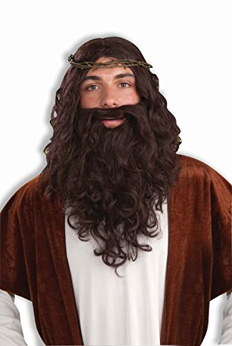 Adult Biblical Jesus Wig And Beard Set With Crown Of Thorns
