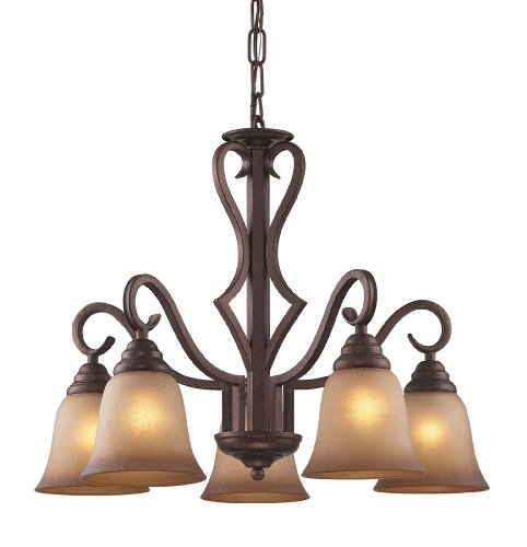 B004HX0PE2 Elk 9327/5 5-Light Chandelier In Mocha and Antique Amber Glass