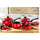 Premier Housewares Cookware Set - 3 -Piece - Red
