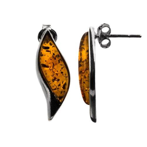 Genuine Honey Amber Sterling Silver Spurts of Flame Stud Earrings