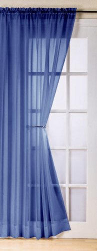 Contemporary Faux Silk Ready To Hang Plain Voile Curtain Panel in Navy. Use with Pole, Rod or Wire, Size: 150cm (59