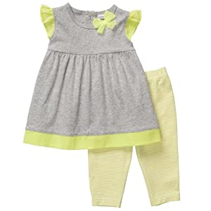 "Carter's Girls ""Little Collections"" 2-piece Flutter Sleeve Tunic Top and Legging Pants Set Lime/Gray (24 Months)"