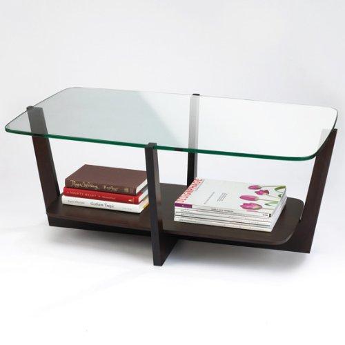 Umbra Stellar Glass-Top Wood Coffee Table
