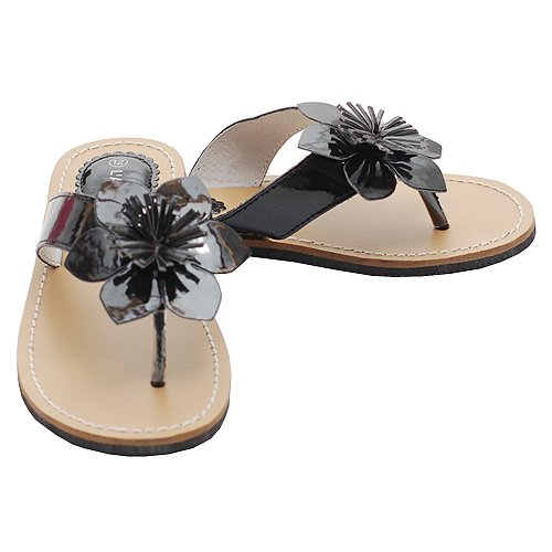 204231bf5716 For sale Little Girls Size 3 Black Flower Flip Flops Spring Sandals ...