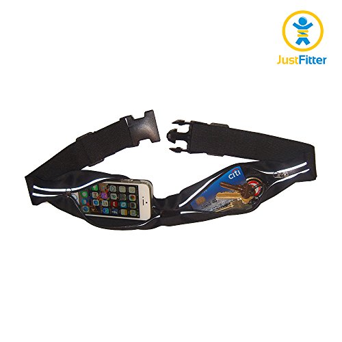 Adjustable Running Belt with Large Dual Pockets for Money, Keys, Credit Cards and Fits Iphone 6+ or Samsung Galaxy S5 Phone Sizes. Water Resistant Quality Waist Pack with Reflective Pocket Trims.