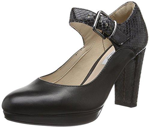 Clarks Kendra Gaby, Scarpe con Cinturino alla Caviglia Donna, Nero (Black Leather), 35.5 EU