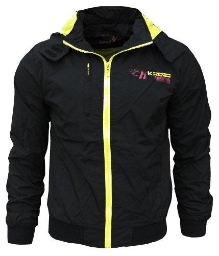 K20 Jeans Sonic Men's Lightweight Sports Rain Wind Jacket black / yellow Medium