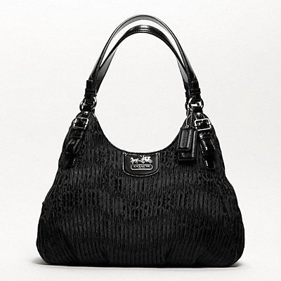 NEW AUTHENTIC COACH MADISON GATHERED SIGNATURE MAGGIE HOBO BAG (Black/Silver)
