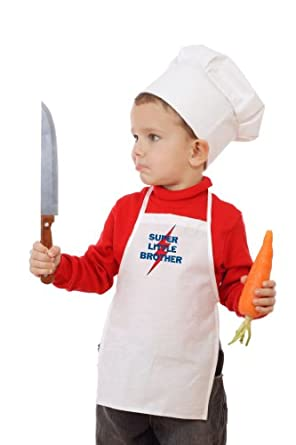 So Relative! Super Little Brother Kids Chef Cooking White Apron & Chef Hat Set