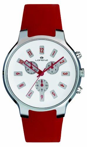 Lorenz 26783CC - Reloj analógico de cuarzo unisex, correa de silicona color rojo