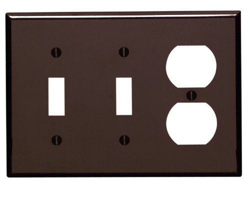 Leviton 85021 3-Gang 2-Toggle 1-Duplex Device Combination Wallplate, Standard Size, Thermoset, Device Mount, Brown