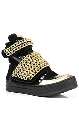 Jeffrey Campbell The Bones Chain Sneaker 5 Black & Gold