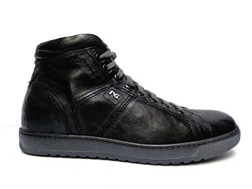 Nero Giardini sneakers alte da uomo in pelle col. Nero lacci + cerniera,n. 40