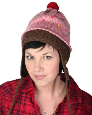 DeLux Strawberry Cupcake Pilot Hat with Ear Flaps - Limited Edition
