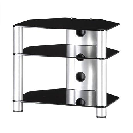 RX2130 NG - Mueble HIFI 3 estantes. Vidrio Negro/ Chasis gris.