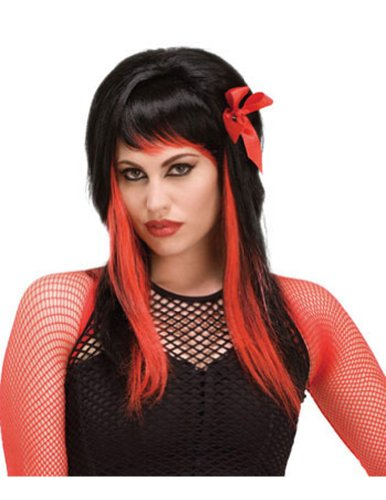 Costume-Wig Dark Fairytale Black-Red Halloween Costume - 1 size
